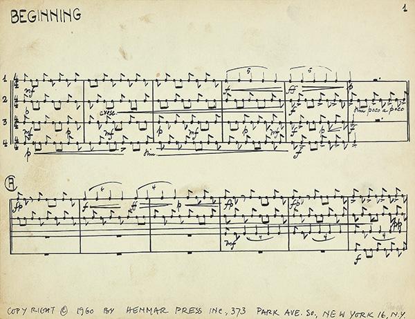 ジョン ケージ ペン インク サイン Living Room Music ための3枚