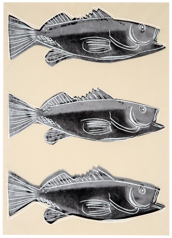 アンディ ウォーホル 壁紙にシルクスクリーン 魚